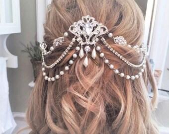 Bridal Rhinestone Headpiece, Wedding Pearl Headband, Customizable, Backside-Forehead Headpiece, Chandelier Head Piece, Bridal CustomVeil