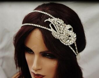 Bridal Rhinestone Headband, Crystal Silver Or Gold Brooch,  Bride Headpiece, Wedding Headpiece,  Gold Hair Jewelry, Silver Bridal Hadpiece