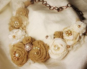 Burlap Statement Necklace, Customizable, Ivory Lace, Burlap, Champagne-Gold-Adjustable,  Bridal Bibb Necklace, Champagne-Gold-Ivory Pearls