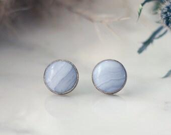 106774d84 Sterling Silver & Frosty Blue Lace Agate Stud Earrings