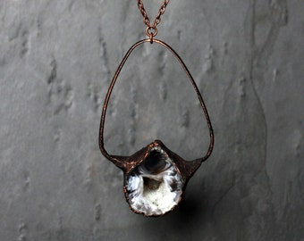Geode Half & Copper Pendant Necklace