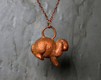 Copper Bunny Rabbit Pendant Necklace - Electroformed Animal Series