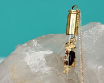 Honeybee & Gold Flake Vial Bullet Necklace - 14K Gold-Filled - Encased Natural History Series