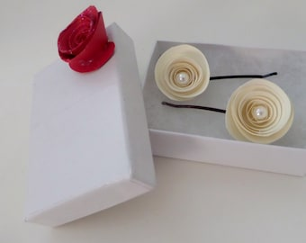 Paper Rose Hairpins