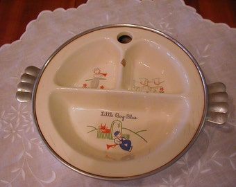 Bowls & Plates Vintage Divided Baby Food Dish In Warmer Little Boy Blue Excello Baby