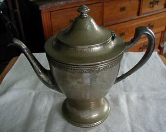 Lovely Hammered EPNS coffee pot or tea pot wonderful border and design.