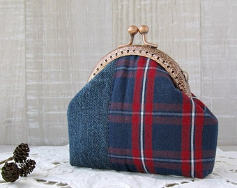 Denim coin purse with tartan, Navy blue change pouch, Recycling jeans purse, Red and blue tartan wallet, Country style gift for Mother