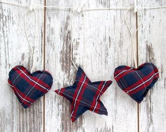 Tartan Ornaments, Navy hearts patriotic decor, Independence Day USA, 4th of July decoration, Christmas tartan stars, Scottish wedding decor