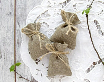 10 Mini Wedding Favors, Bridal Burlap Bags, Bridesmaid Gift, Rustic Wedding Gift Bags, Small Candy Bags, Thank You Gift