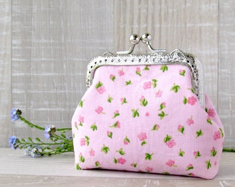 Pink Coin Purse, Flowers Purse, Kisslock Pink Purse, Frame wallet, Shabby Chic Purse, Blossom Change Pouch, Bridal Gift, Wedding Favors