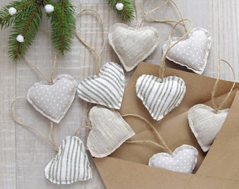 Linen Hearts Ornament, Scandinavian Style Decor, Valentines Day gift, Christmas Home Decor, Rustic hearts ornaments, Wedding Love Decoration