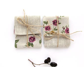 5 USB packaging, Roses mini bags, Floral usb case, USB pouch, Linen mini bags , Boho gift wrap, usb holder, Wedding gift pouches