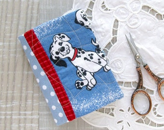 Patchwork needle book, Dalmatian sewing case, Needle holder witn dog, Blue sewing accessories, Needlebook with puppy, Red sewing organizer
