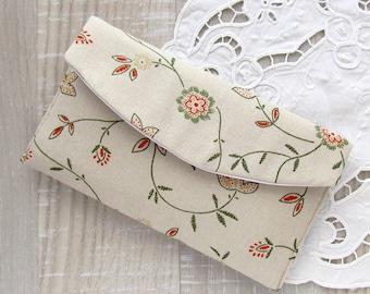 Floral clutch, Rustic wedding purse, Bridal small bag, Bridesmaid clutch, Boho summer wedding clutch, Makeup bag, Wedding favor gift