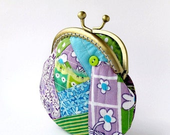Patchwork coin purse, Green owls and flowers purse, Purple paisley change pouch, Blue floral frame purse, Birds scrappy wallet, Gift for her