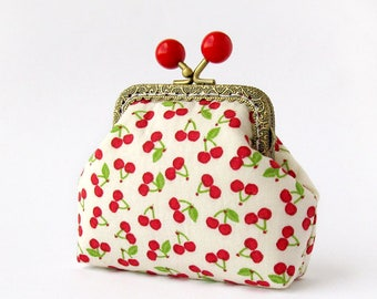 Cherries coin purse, Red berries purse, Fruit change pouch with kisslock, Cherry purse, Light yellow small wallet