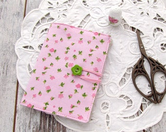 Pink needle book, Sewing case, Floral needle holder, Sewing organizer with flowers, Needlebook, Sewing accessories, Pincushion pink, green