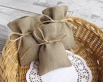 20 Bridal Favors Burlap Bags, Rustic gift bags, Wedding Candy Bags, Burlap sachet - SET OF 20