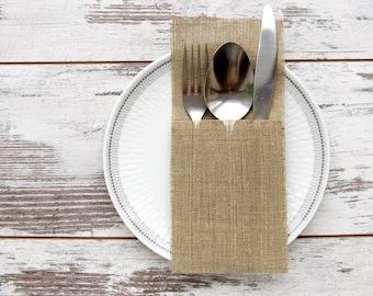 50 Wedding silverware holders, burlap cutlery holders, rustic table decor