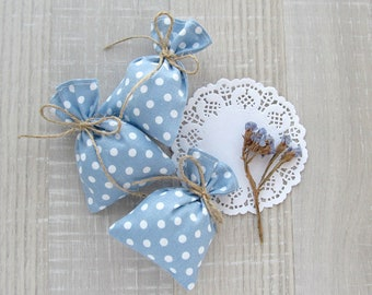 Blue Favor Bags, Wedding Polka Dots Favors, Bridal Gift Bags, Baptism Candy Bags, Wedding Favors, Party Blue Bags, set of 10 -  3 х 4