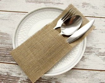 50 Wedding rustic silverware holders, burlap cutlery holders