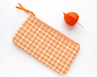 Orange change pouch, Zipper pouch, Change purse, Needlework pouch, Cosmetic bag, Orange tangerine wallet, Makeup bag, Jewelry Storage