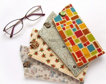 Soft Glasses Case, Floral Eyeglass Case, Beige Glass Holder, Buttons Sun Glasses Case, Geometric Eye Glasses Holder, Colorful, Cute Gifts