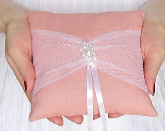 Ring Bearer Pillow, Dusty Pink Wedding Cushion, Bridal Pillow with Pearl, Elegant Bearer Pillow, Pink and White Pearls Ring Cushion
