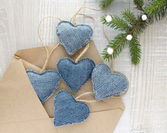 Denim Hearts, Christmas Ornaments, Boho Home Decor, Jeans hearts, Valentines Day gift, Wedding Love Decoration, Upcycle Denim, Recycle Jeans