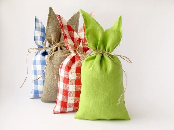 Apple Green Rabbit Linen Bag Easter Bunny Gift Bag