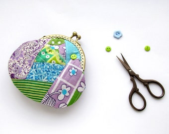 Patchwork coin purse, green owl purse, purple paisley pouch, blue patchwork coin purse, floral purse, OOAK gift