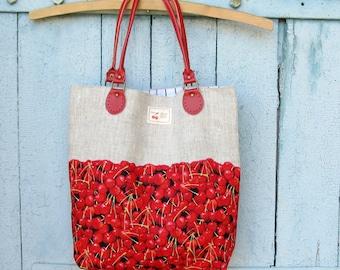 Linen bag, Red cherries tote Bag, Shopper cherry bag, Fruit berries bag, Kawaii shopper bag, Berry shoulder bag, Canvas tote bag