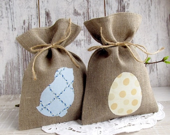 Easter burlap bag, Personalized gift bags, Easter candy bag, Easter treat bag, Easter rustic basket, teachers gift