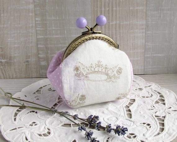 Coin purse with crown, Purple purse, Polka dots coin purse, Cream change purse, Lavender gift, Retro style coin pouch, Lilac bridesmaid gift