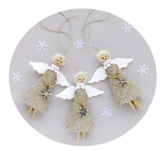 Christmas Angels.Christmas Ornaments Burlap Christmas Angels Set Of 3 Rustic Tree Decorations
