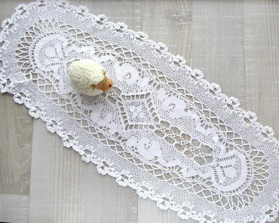 Vintage weißen Deckchen häkeln Blumen ovale Deckchen | Etsy