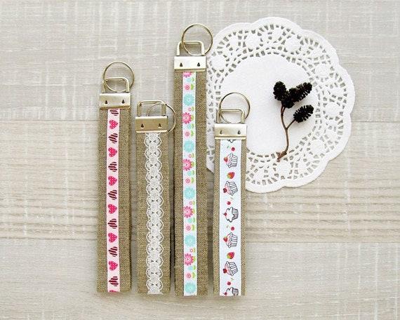 Burlap and Lace Key Fob Keychain Wristlet