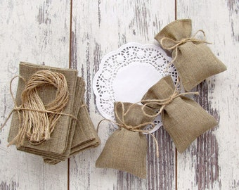 10 Burlap Bags Favors, Bridesmaid Gift, Wedding Favors, Rustic Gift Bags, Thank You Gift, Candy Bags - SET OF 10