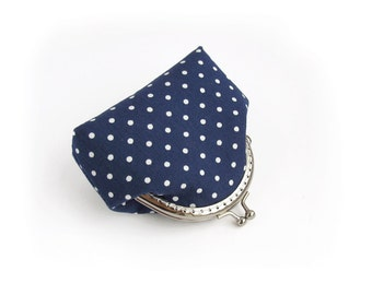 Navy Blue Coin Purse, Polka Dot Kisslock Wallet, Made to order