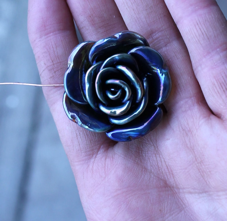Lampwork Blue  with silver accents rose bead