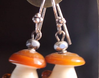 MUshrum Lampwork silver earrings