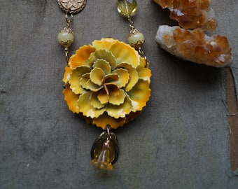 Yellow Flower Statement Necklace, Floral Necklace, Bib Flower Necklace, Bridal Necklace, Botanical Necklace, Assemblage Jewelry
