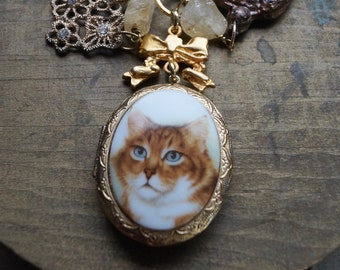 The Nelson Keepsake Locket Necklace, Assemblage Necklace, Cat Lover Gift, Charity Benefit, Animal Charity