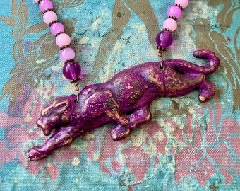 Jaguar Necklace, Rustic Panther Necklace, Electroformed Necklace, Artisan Necklace, Big Cat Jewelry