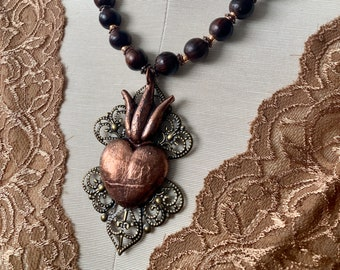 Sacred Heart Bead Necklace, Large Ex Voto Copper Electroformed Necklace, Rustic Heart Pendant