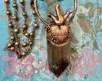 Smoky Quartz and Sacred Heart Electroformed Necklace