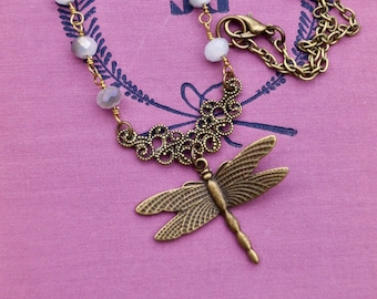Dragonfly Pendant Necklace, garden style jewelry, rosary style chain, nature jewelry, charm necklace, dragonfly necklace, bronze dragonfly