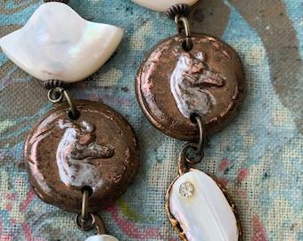 Long Wolf or Dog Earrings, Rustic Wolf Earrings, Relic Earrings