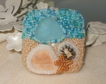 A Day At The Beach Brooch - Sea Glass & Natural Shell Brooch - One Of A Kind - Seed Bead Jewellery - Bead Embroidery Jewelry - Gift For Her