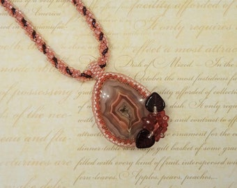 Drusy Laguna Agate Necklace - Gemstone Pendant - One Of A Kind - Seed Bead Jewellery - Beaded Jewelry - Beadwoven Necklace - Gift For Her